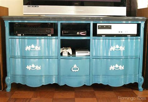 How To Refinish A Dresser by Repurposed Dresser To Entertainment Center