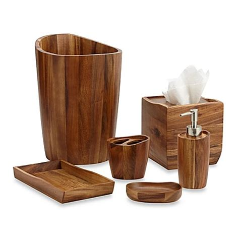 wooden bathroom accessories acacia vanity bathroom accessories www bedbathandbeyond com