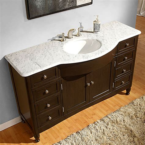58 bathroom vanity silkroad exclusive 58 inch carrara white marble bathroom