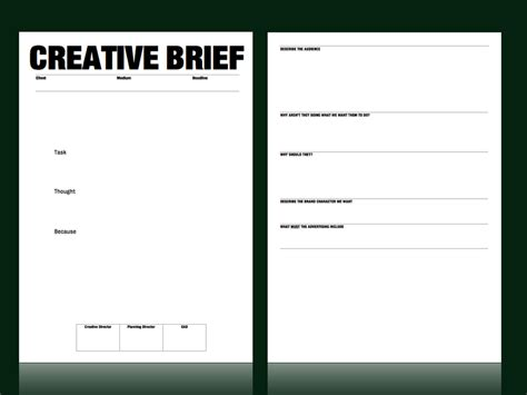 marketing brief template creative brief template from m c saatchi strategy