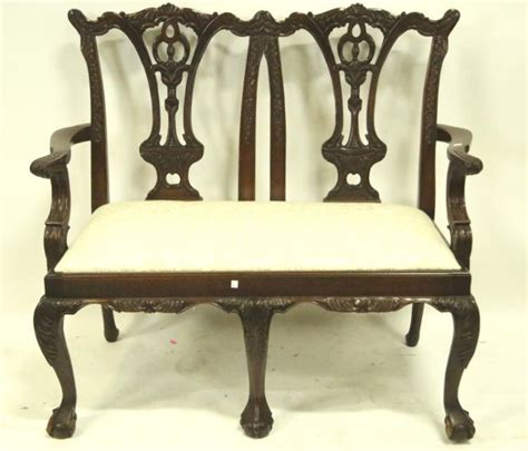 settee feet carved chippendale style settee on ball claw feet