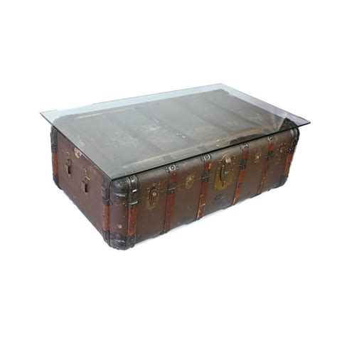 Vintage Trunk Coffee Table Antique Steamer Trunk Coffee Table Side Table Circa 1900 At 1stdibs
