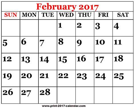printable calendar february 2017 printable 2017 february calendar