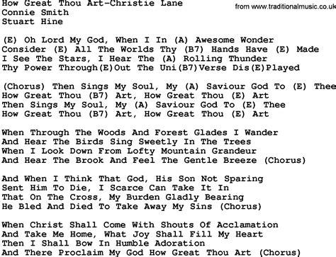 printable lyrics how great thou art country music how great thou art christie lane lyrics and