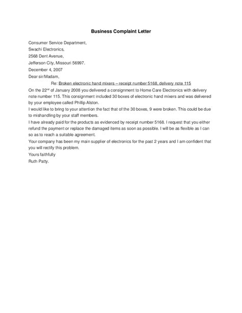Response Letter To Unjustified Complaint Business Complaint Letter Hashdoc Photos Personal