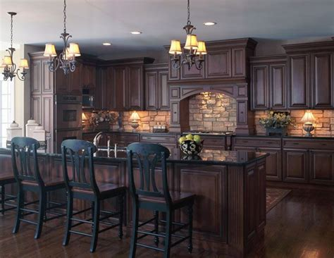 dark wood cabinet kitchens old world style kitchen with stone backsplash dark wood