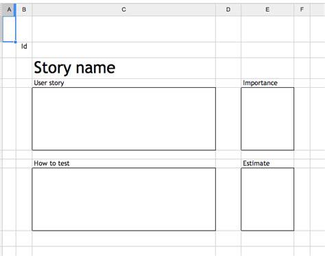 agile story card template crisp s 187 customizing the spreadsheet story