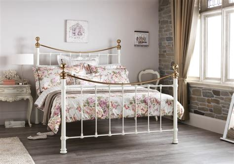 brass bed frame serene ethan ivory gloss with brass 5ft king size metal bed frame by serene furnishings