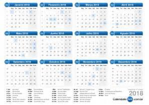 Calendã De 2018 Os Feriados Calend 225 2018