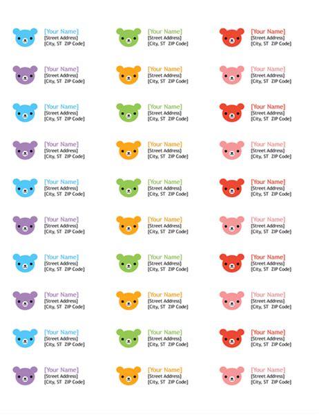 Avery 5160 Return Address Label Template by Return Address Labels Rainbow Bears Design 30 Per Page