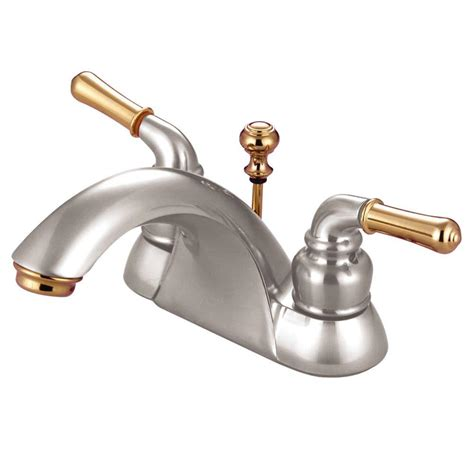 Polished Brass Bathroom Fixtures Kingston Brass 4 In Centerset 2 Handle Bathroom Faucet In Satin Nickel And Polished Brass