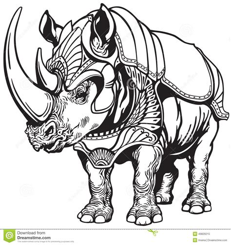rhino in the armor stock vector illustration of
