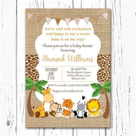 Safari Baby Shower Invitations by Safari Baby Shower Invitation Burlap Baby Animal Jungle