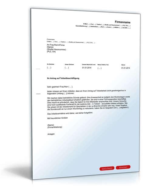 Vorlagen Musterbrief ablehnung antrag teilzeitarbeit vorlage zum