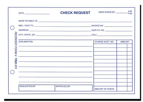 cheque voucher template check request form form tro 111