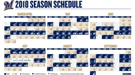 printable brewers schedule brewers release 2018 schedule with times