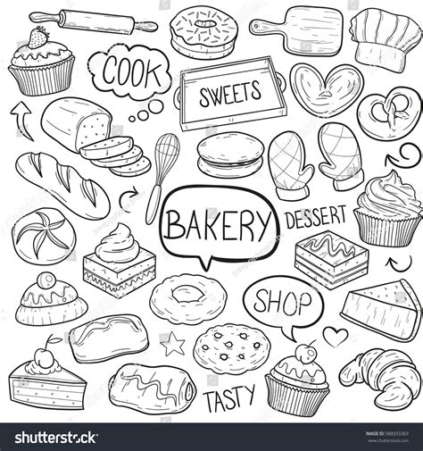 doodle shop bakery shop food doodle vector stock vector 588033383