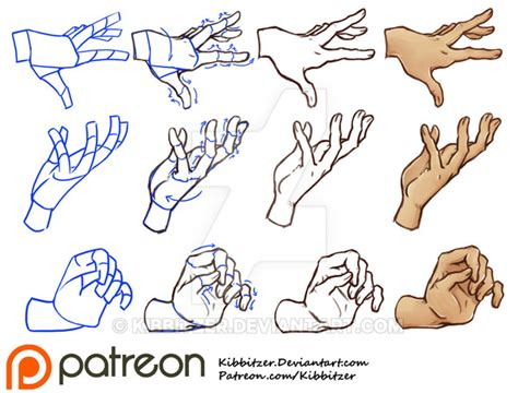 how to draw hands 35 tutorials how tos step by steps hands tutorial 2 by kibbitzer on deviantart