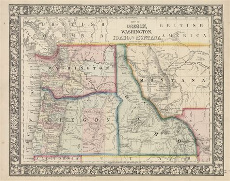 map of oregon mt map of oregon washington idaho and montana 1866