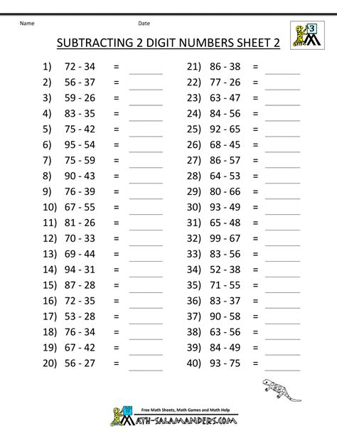 Math Worksheets by Third Grade Subtraction Worksheets