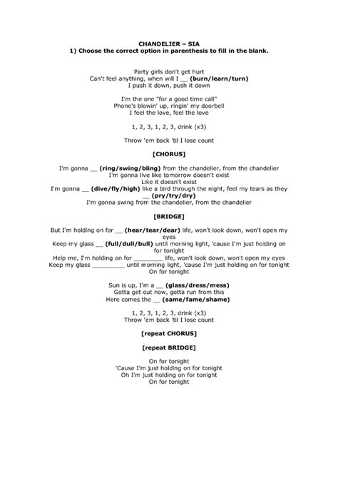 Lyrics To Chandelier Song Worksheet Chandelier By Sia