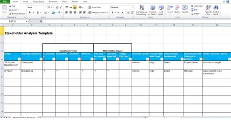 free stakeholder analysis template project management