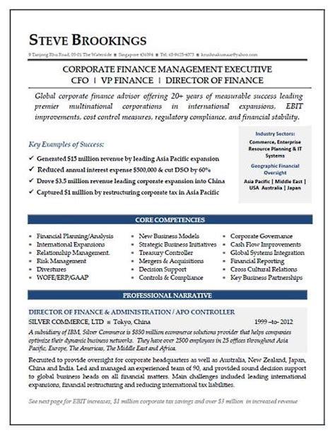 vp finance resume exles cfo resume sle vice president of finance director of