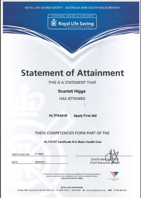 certificate of attainment template entertainment hsc 2012