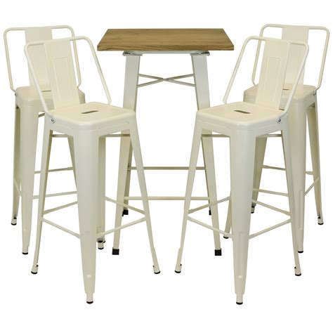 wood bar table and stools hartleys cream industrial metal bistro bar wood top table