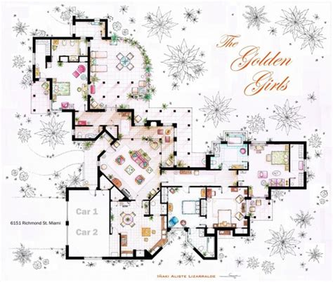tv house floor plans the golden girls house floor plans
