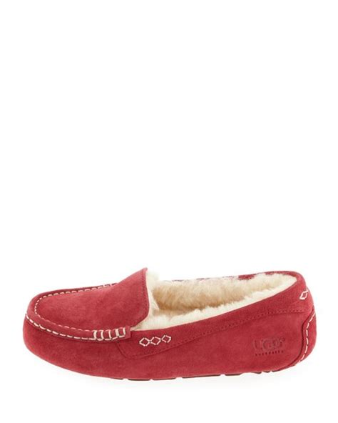 purple ugg slippers ugg ansley moccasin slippers in purple wine lyst