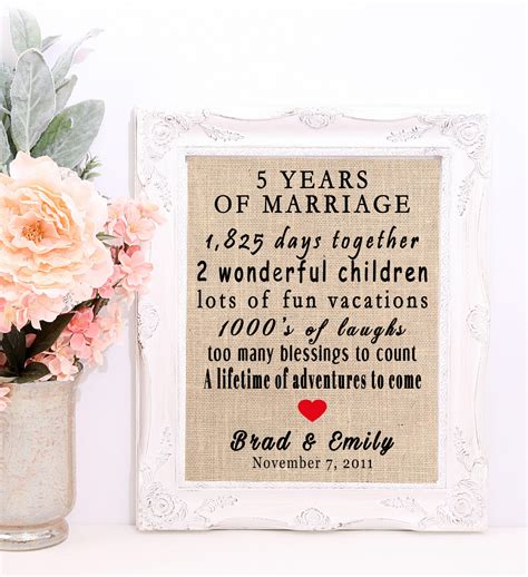 Wedding Anniversary Gifts 5 Years by 5 Year Wedding Anniversary 5 Year Anniversary Gift 5th