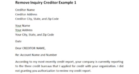 Dispute Credit Inquiries Letter Remove Inquiry Creditor Exle 1 Dispute Letters That Work