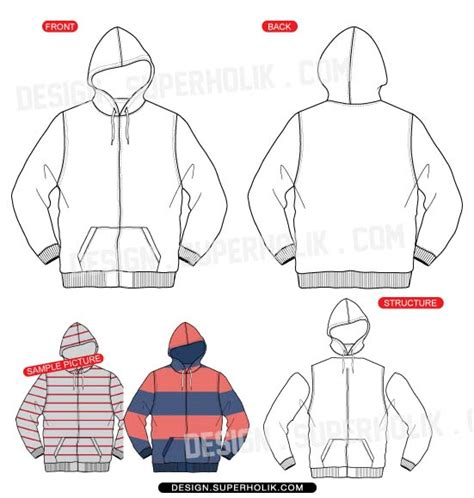 zip hoodie design template fashion design templates vector illustrations and clip