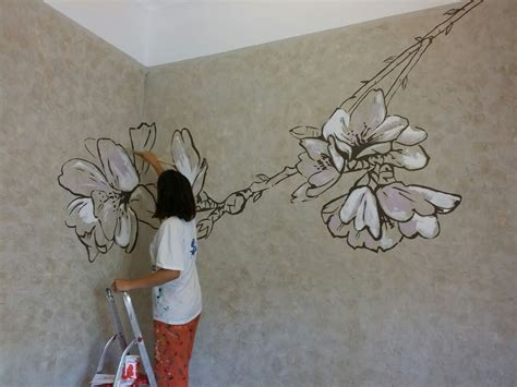 painting the walls almond flower wall painting anabeltra flower wall