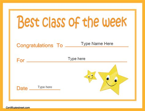 of the week certificate template certificate free award certificate templates no
