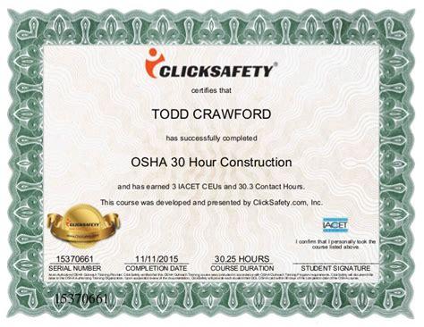 osha 30 hour card template osha 30 hour certificate 1