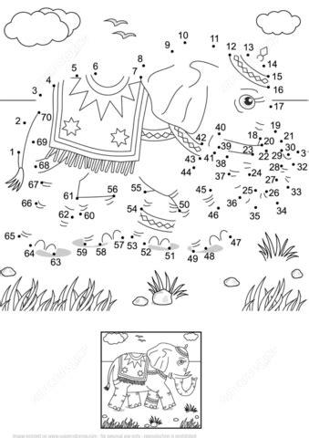 printable version in hindi walking indian elephant dot to dot free printable
