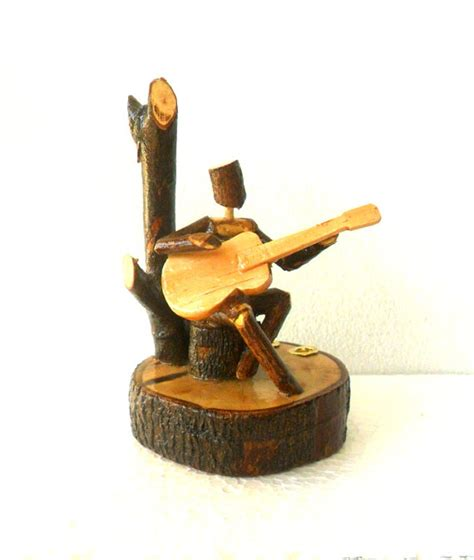 Handmade Sculpture - wood carving sculpture guitar player handmade