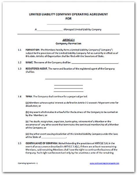 Llc Partnership Agreement Sle Free Printable Documents Colorado Llc Operating Agreement Template