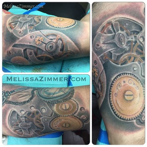 steunk clock tattoo pocket with gears pocket 2018