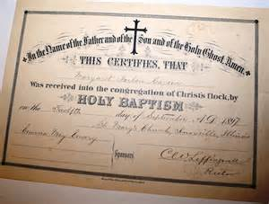 antique 1897 holy baptism certificate of margaret harlen