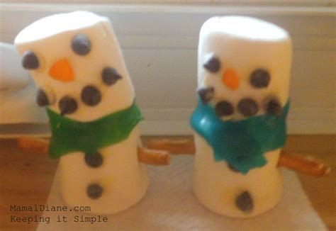 marshmallow snowmen easy kids christmas craft mamal diane