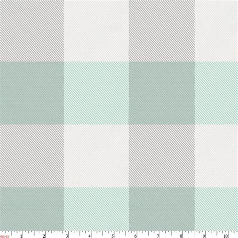 Mint and gray buffalo check fabric by the yard gray fabric carousel designs