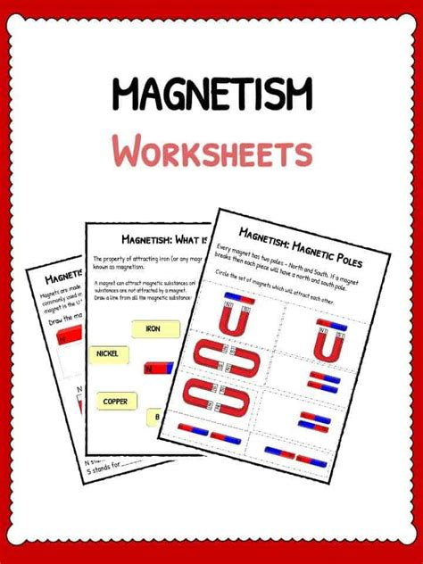 magnetism worksheets  lesson study sheets
