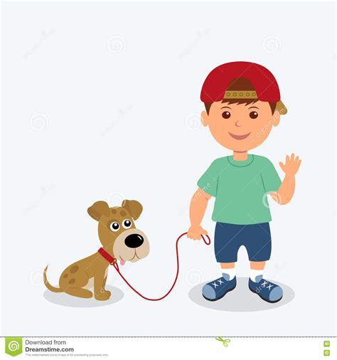 Boy And Dog Isolated On The White Background Vector Picture Of Boy And Free