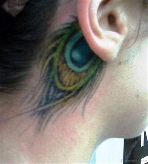 feather tattoo behind ear 14 lovely peacock neck tattoos