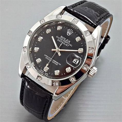 Jan Tangan Rolex Automatic Black Diskon jual beli rolex datejust automatic kulit leather black