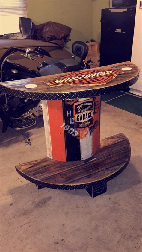 harley davidson patio chairs harley davidson 1 2 spool table at rollie s bar outdoor