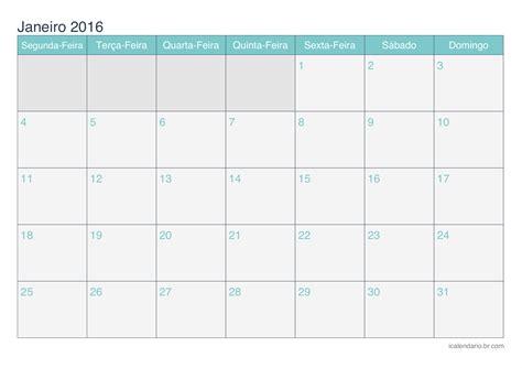 calendario 2016 mes a mes calend 225 rio janeiro 2016 para imprimir icalend 225 rio br com